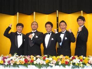 From L to R: Yamasaki Hosei, Matsumoto Hitoshi, Hamada Masatoshi (Downtown), Endo Shozo, Tanaka Naoki (Cocorico)