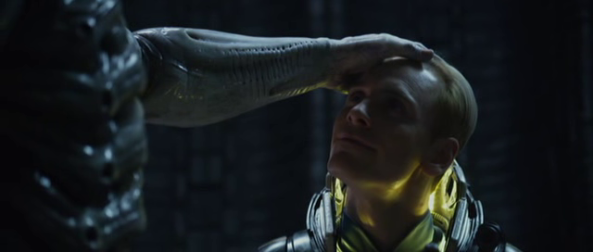 Engineer stroking David's head - Copyright 20th Century Fox