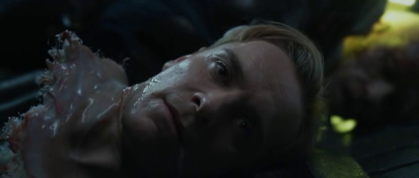 Decapitated David wishing Weyland a good journey - Copyright 20th Century Fox